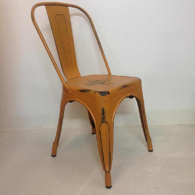 Chaise en metal factory - edition vintage - orange
