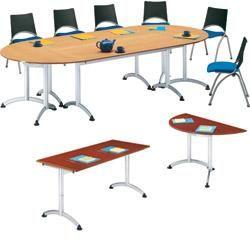 TABLE DE RÉUNION PLIANTE SODEMATUB MOBILIS EVO 140 (L) X 70 (P) X 74 (H) CM ALUMINIUM  IMITATION POMMIER