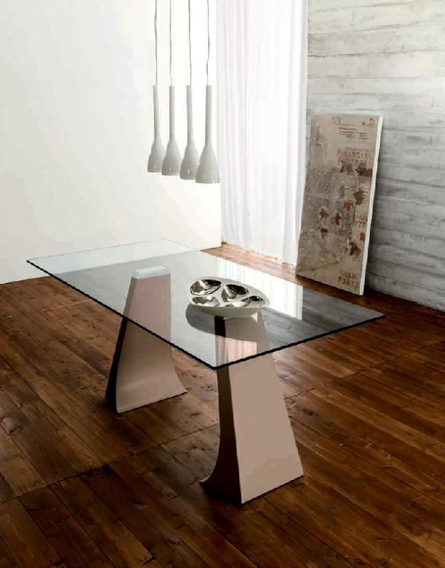 arcade table repas plateau en verre pietement en metal taupe. Black Bedroom Furniture Sets. Home Design Ideas