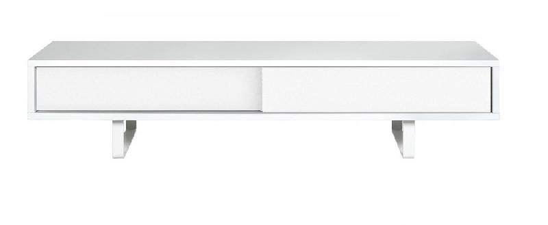 Temahome slide meuble tv design blanc mat avec 2 portes coulissantes