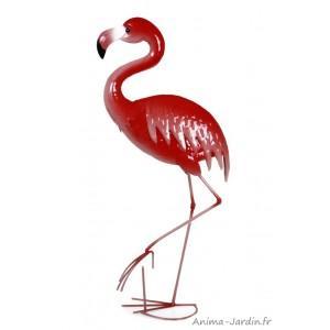 Flamand rose, animal en métal peint, objet décoration, silhouette, socadis, md6125-flamand-rose