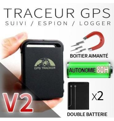 traceur gps gsm espion v2 double batterie aimant puissant comparer les prix de traceur gps. Black Bedroom Furniture Sets. Home Design Ideas