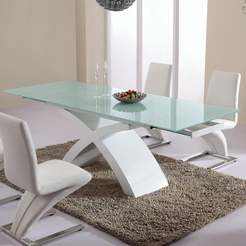 TABLE DE SALLE À MANGER EN VERRE BLANC MATRIX