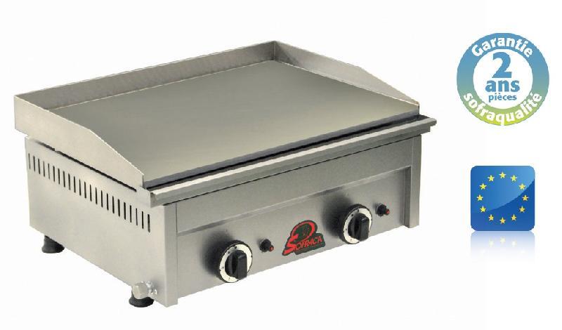 Plaque hamburgers acier - gaz - 2 brûleurs ns600a