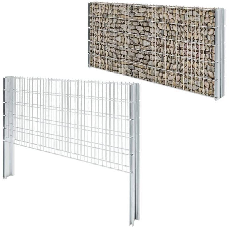Vidaxl clôture gabion 2d acier galvanisé 2,008x1,03m 12m total argenté