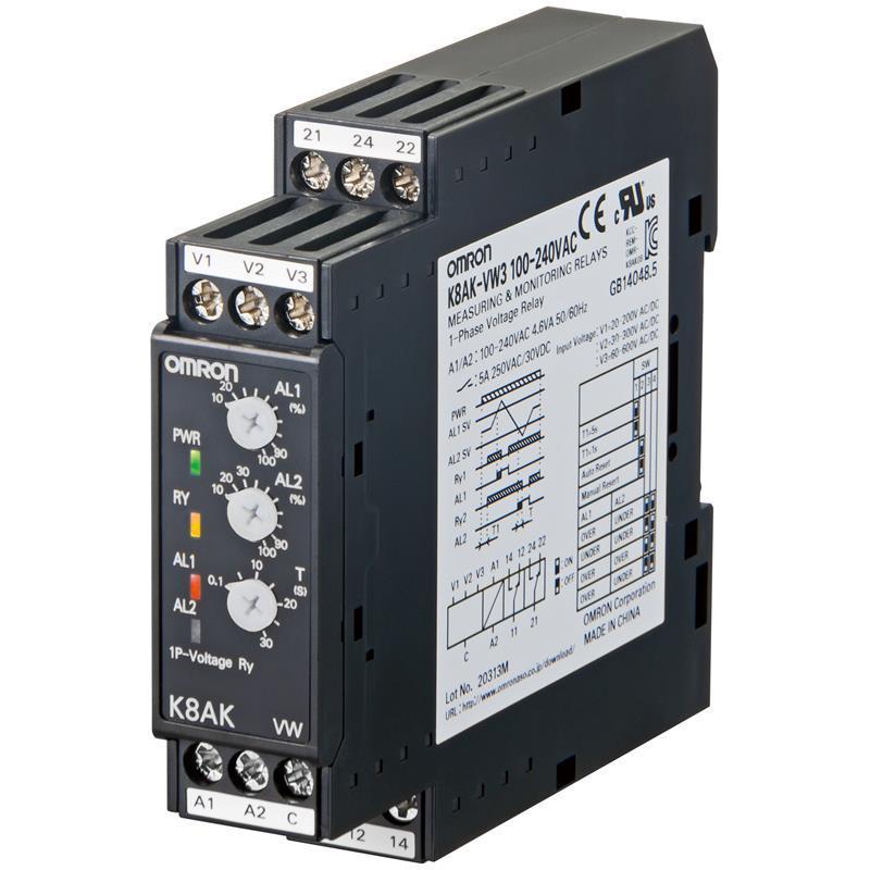 Relais de contrôle k8ak-vw3 24vac/dc
