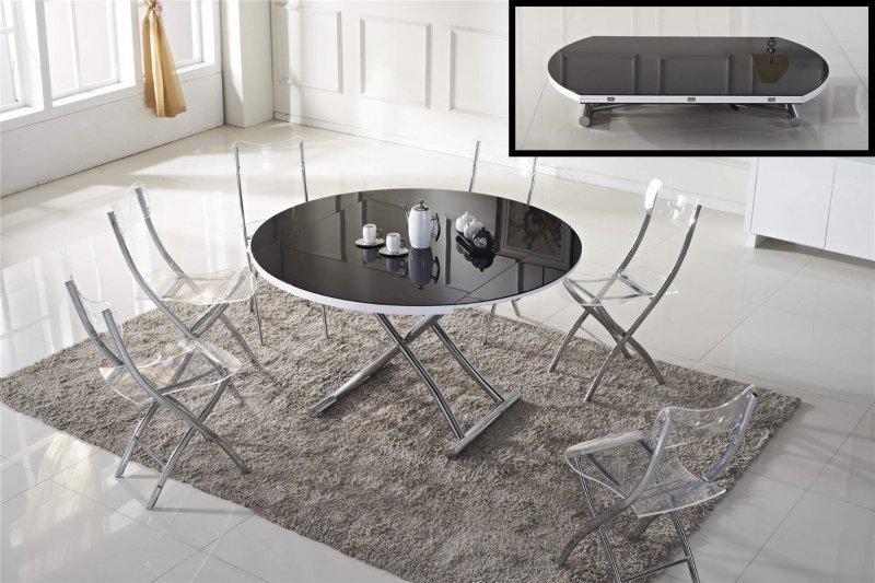 table basse ronde relevable et extensible planet noire. Black Bedroom Furniture Sets. Home Design Ideas