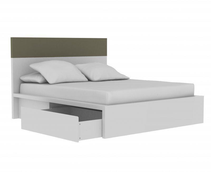 lit design valentin blanc gris tiroirs integres 160 200 cm. Black Bedroom Furniture Sets. Home Design Ideas