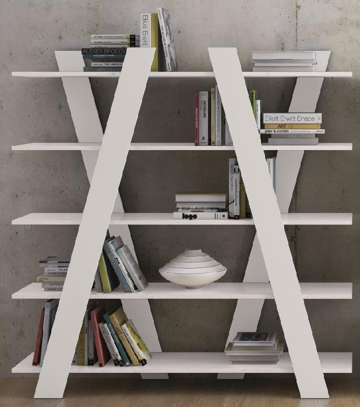 Temahome wind bibliotheque etagere design blanche mate for Meuble bibliotheque design