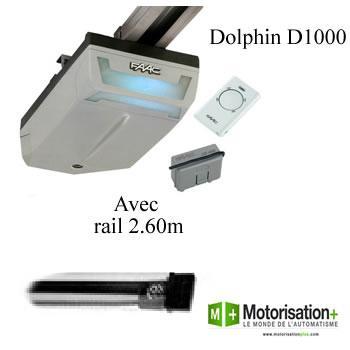 Motorisation porte de garage faac dolphin d1000 rail de 2 for Moteur porte de garage magic 1000