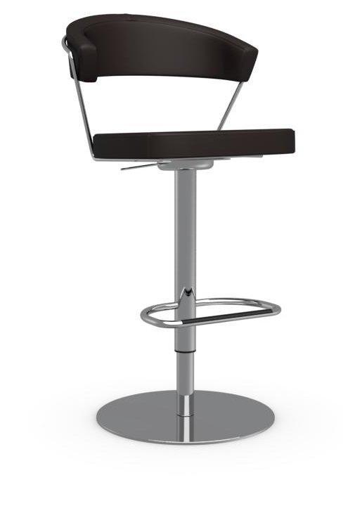 Calligaris chaise de bar new york en cuir cafe   INSIDE75
