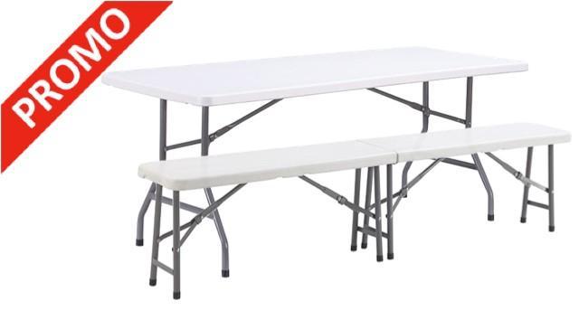 table et bancs pliants table pliante bancs pliants neuve ensemble festivites eco table x cm et. Black Bedroom Furniture Sets. Home Design Ideas
