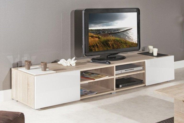 atlantic meuble tv structure chene bardolino et portes laquees blanc brillant grand modele. Black Bedroom Furniture Sets. Home Design Ideas