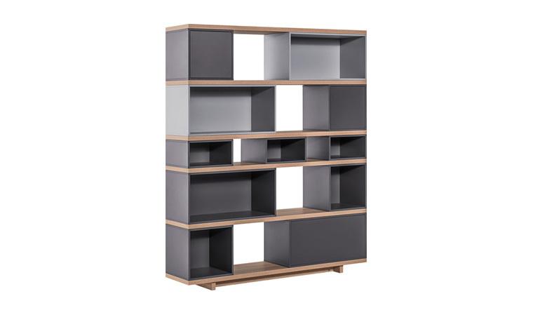 grande bibliotheque design noire et grise balance. Black Bedroom Furniture Sets. Home Design Ideas