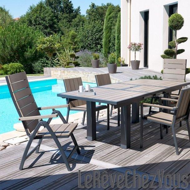 Salon de jardin 6 fauteuils aluminium et composite 2 - Salon jardin composite aluminium ...