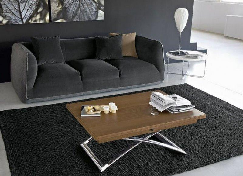 calligaris table basse relevable extensible italienne magic j en bois vernis et pi tement en. Black Bedroom Furniture Sets. Home Design Ideas