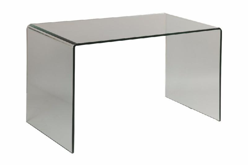 Clear bureau design en verre trempe