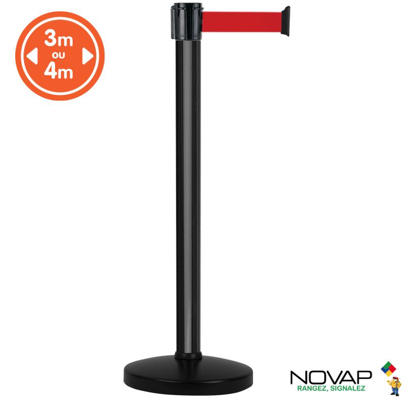 Poteau alu noir à sangle Rouge sur socle portable - Novap