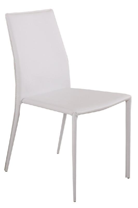 Chaise design polo similicuir blanc