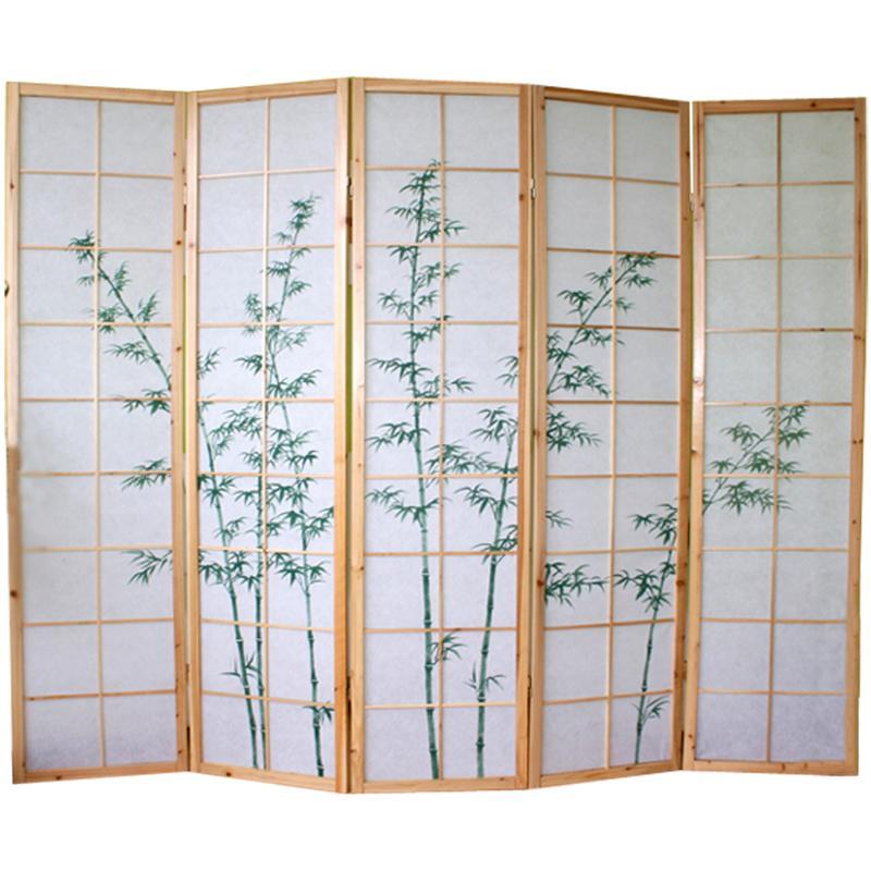 Paravent Japonais Grands Carreaux Bois Noir Et Papier De Riz