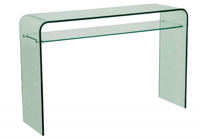 console fixe wave en verre trempe transparent 2 plateaux. Black Bedroom Furniture Sets. Home Design Ideas