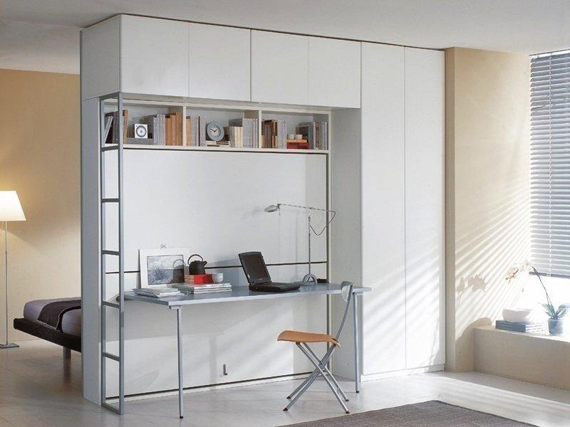 Armoire lit superposes escamotable avec bureau pliable - Lit superpose rabattable ...