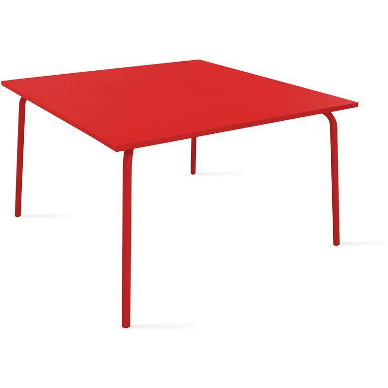 TABLE DE JARDIN CARRÉE EN MÉTAL - ROUGE - OVIALA