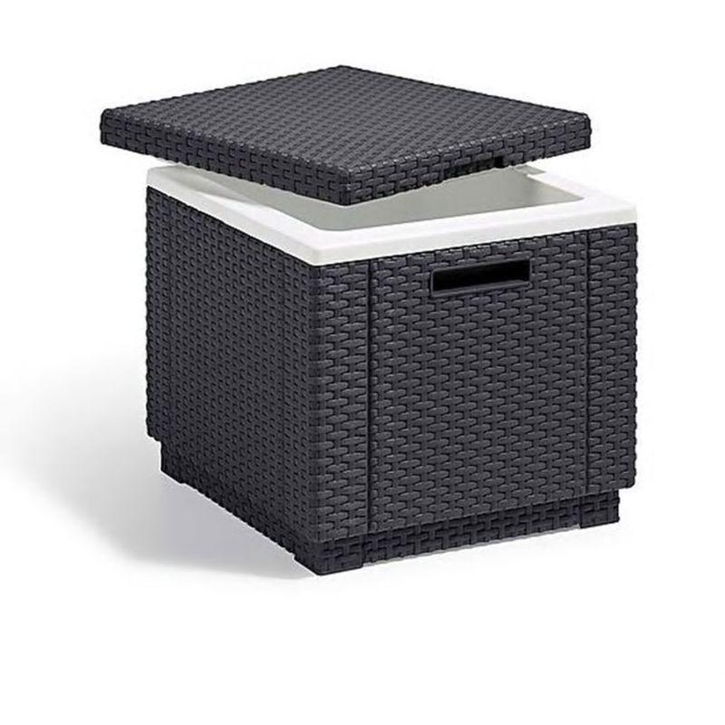 ALLIBERT TABLE BASSE ISOTHERME IMITATION ROTIN TRESSÉ - 42X42X41 CM - GRIS - ALLIBERT JARDIN