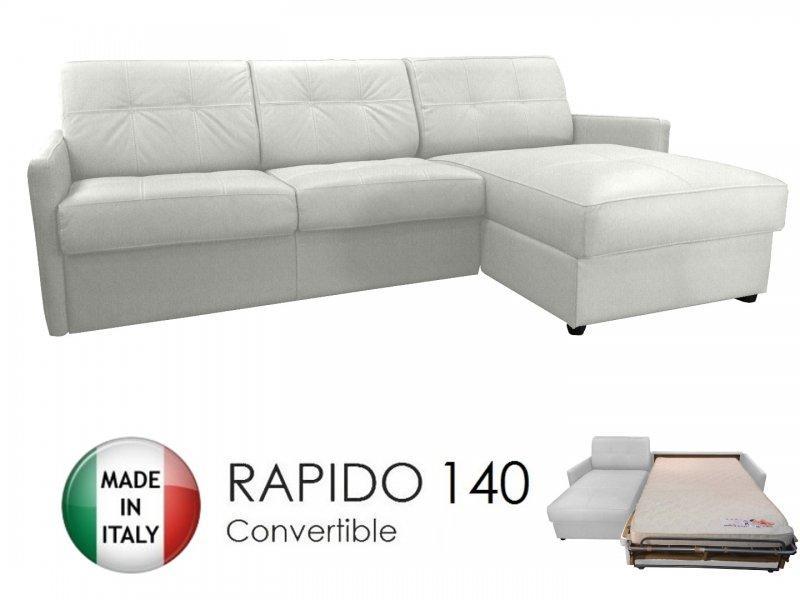 canape d 39 angle reversible ouverture rapido cube deluxe 140 cm coffre cuir vachette blanc. Black Bedroom Furniture Sets. Home Design Ideas