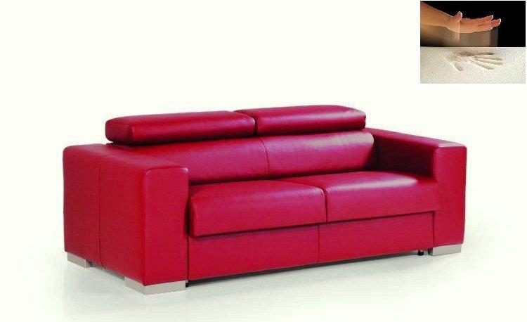 canape rapido sidney memory matelas a memoire de forme cuir rouge couchage quotidien 140cm. Black Bedroom Furniture Sets. Home Design Ideas