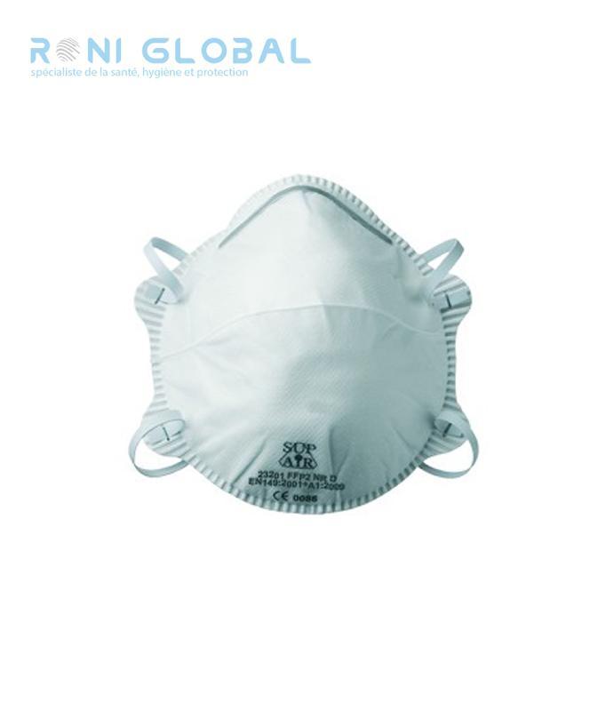 Demi-masque filtrant blanc à coque sans valve ffp2 (20 pièces)