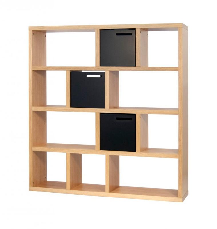 temahome berlin bibliotheque etagere chene avec 3 boites de rangements. Black Bedroom Furniture Sets. Home Design Ideas