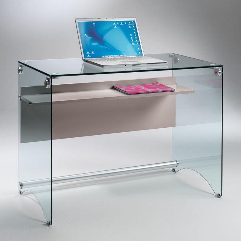 bureau charli design en verre avec une tag re en bois stratifi taupe comparer les prix de. Black Bedroom Furniture Sets. Home Design Ideas