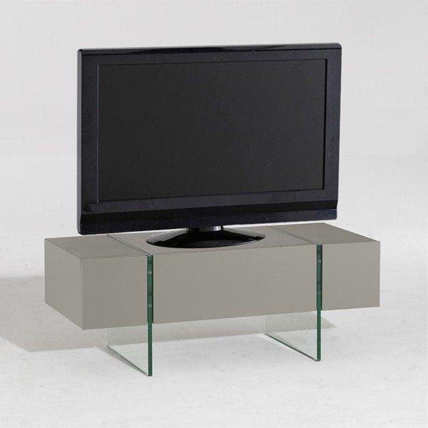 solaris meuble tv taupe pietement verre securit. Black Bedroom Furniture Sets. Home Design Ideas