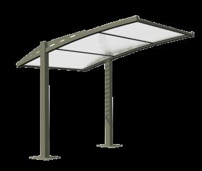 Abris vélo ouvert eco / structure en acier / toiture en polycarbonate alvéolaire