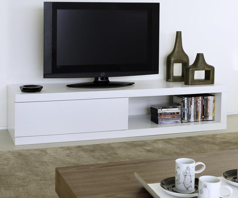 Temahome atoll meuble tv blanc mat avec rangements for Meuble sejour modulable