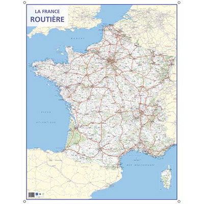 CARTE MURALE ROUTES DE FRANCE - 66 X 84,5 CM - 4 OILLETS POUR SUSPENSION