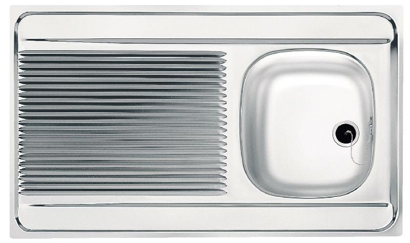 Evier inox poser 1 bac 1 gouttoir dimensions 80 x for Dimension evier cuisine 2 bacs