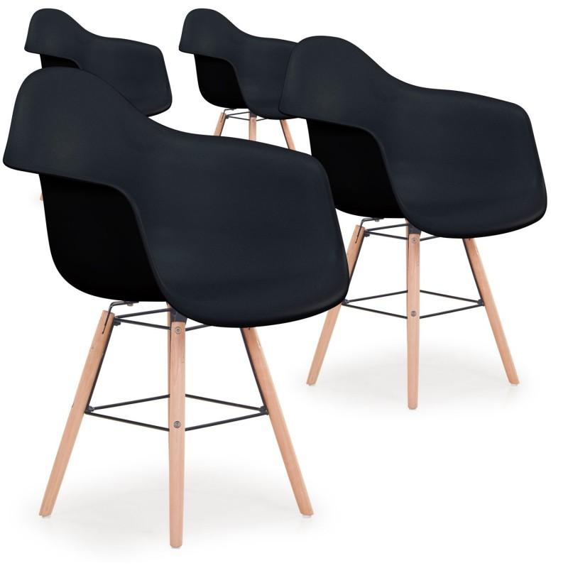 lot de 4 chaises scandinave waly 79cm noir paris prix. Black Bedroom Furniture Sets. Home Design Ideas