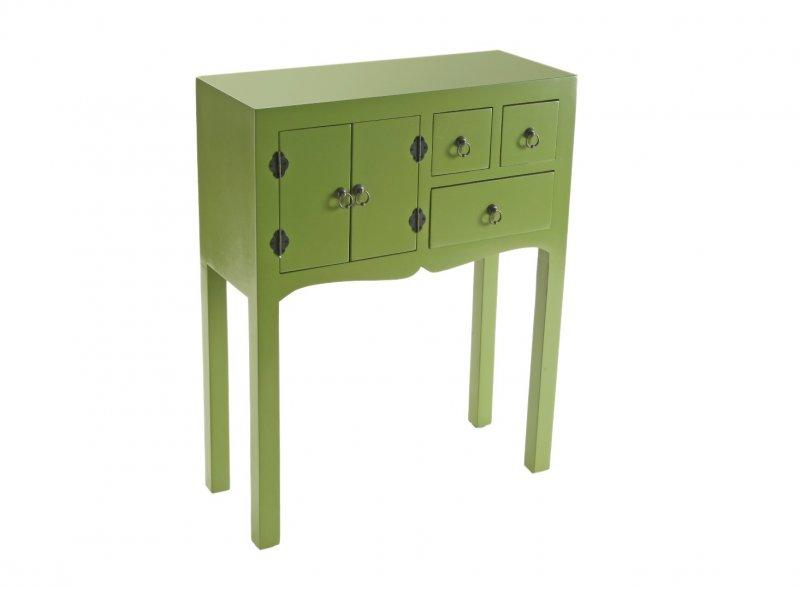 matmata petite console design vert en bois 3 tiroirs 2 portes. Black Bedroom Furniture Sets. Home Design Ideas