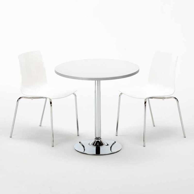 TABLE RONDE BLANCHE 70X70CM AVEC 2 CHAISES COLORÉES ET TRANSPARENTES SET INTÉRIEUR BAR CAFÉ LOLLIPOP SILVER   BLANC - GRAND SOLEIL