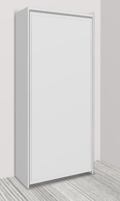 armoire lit escamotable cronos blanc mat couchage 90 22 190 cm. Black Bedroom Furniture Sets. Home Design Ideas