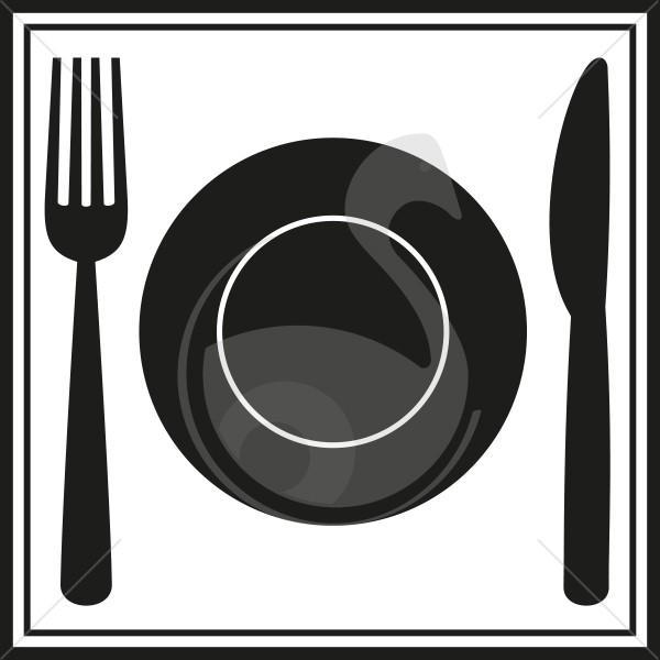 pictogramme restauration couverts avec assiette. Black Bedroom Furniture Sets. Home Design Ideas