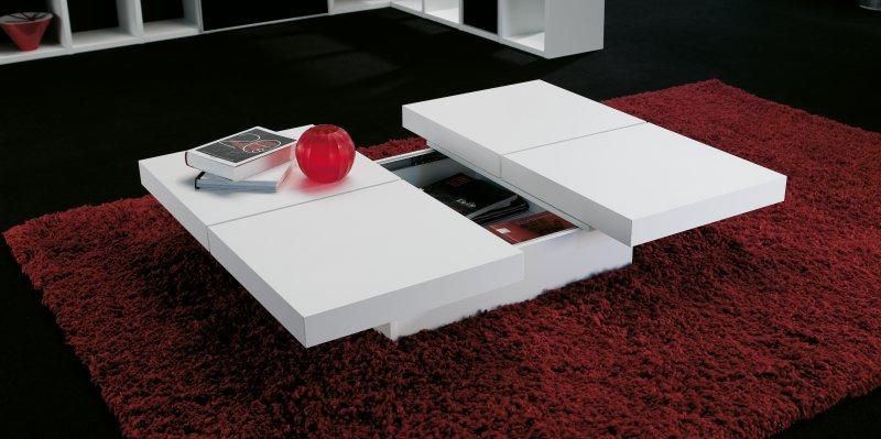 temahome kyoto table basse japonaise design laquee blanc mat avec coffre. Black Bedroom Furniture Sets. Home Design Ideas