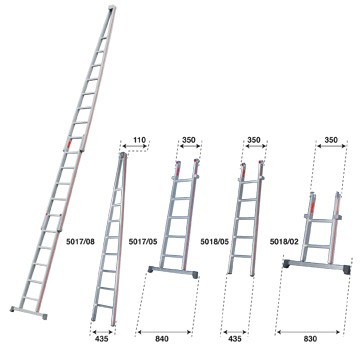 echelle pour laveurs de vitres composables en aluminium pour grande hauteur. Black Bedroom Furniture Sets. Home Design Ideas