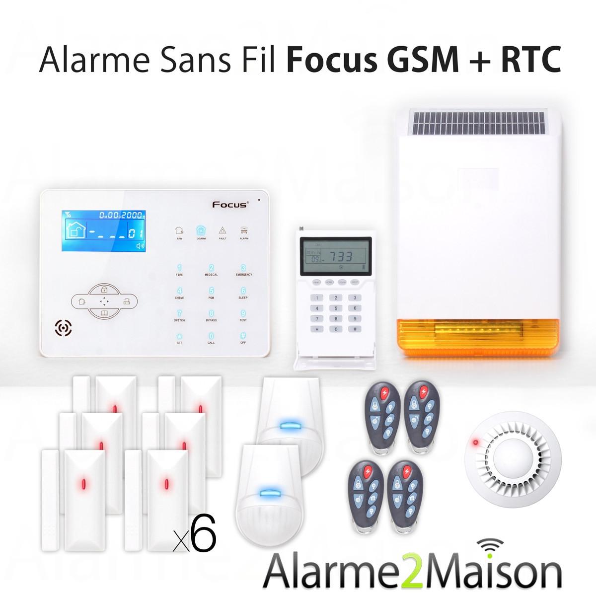 alarme maison sans fil focus gsm rtc 5 6 pi ces incendie comparer les prix de alarme. Black Bedroom Furniture Sets. Home Design Ideas