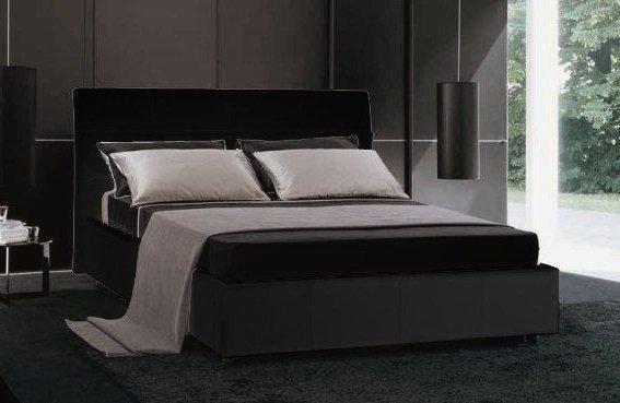 Lit coffre design cesare couchage 2 personnes 140 190cm en cuir tete de lit - Lit coffre 2 personnes ...