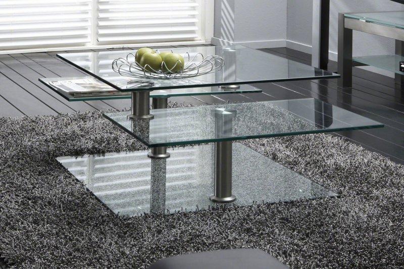 steelglass table basse design en verre et pi tement acier inoxydable comparer les prix de. Black Bedroom Furniture Sets. Home Design Ideas