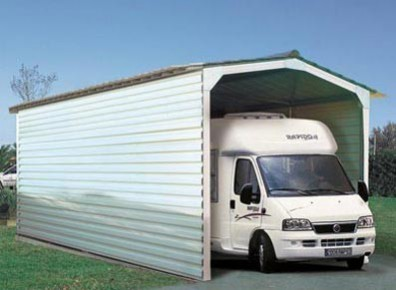 Abri camping-car semi-fermé Métallique 3/4 / structure en acier / toiture à deux pans en acier / 3.89 x 3.10 m