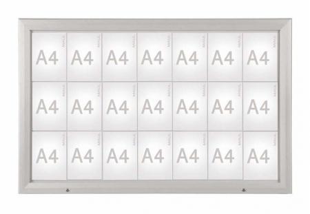 68951 08 vitrine pro pour 21 x feuilles a4 cadre aluminium anodis coloris argent comparer. Black Bedroom Furniture Sets. Home Design Ideas